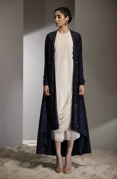 Laser Emb Anarkali Jacket With Inner Fabric Material: Dupion Silk Material Composition: Silk Care: Dry Clean Only Pakistani Fashion Casual, Pakistani Dress Design, Abaya Fashion, Pakistani Outfits, Indian Outfits, Indian Fashion, Fashion Dresses, Kurta Designs, Blouse Designs