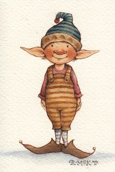 A Fairy Painting A Day – Stipey Elf - Schilder Jeny Kunst Elf Drawings, Cute Drawings, Christmas Drawing, Christmas Paintings, Christmas Pictures To Draw, Christmas Illustration, Illustration Art, Fairy Paintings, Elves And Fairies