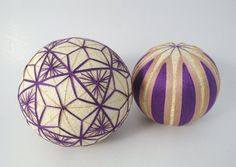 Japanese Vintage Temari Ball, Handcrafted folk art ball, set of 2