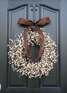 Berry Wreath - Front Door Wreath - Chocolate and Cream. $75.00, via Etsy.