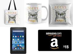 Kindle Fire 7 & Amazon Gift Card and Owl Tote Bag, Mug & Pillow Set Giveaway