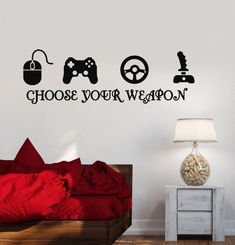 Gamer Vinyl Stickers Video Game Play Room Joystick eSports Wall Decal (ig3216) #Wallstickers4you
