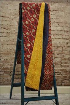 One of a Kind Indian Vintage Kantha Sari Throw