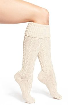 6f0c6bdfa32 Free People Cable Knit Knee High Socks at shown in Ivory