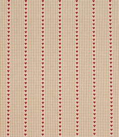Unusual gingham and striped fabric with little hearts. Made from 100% cotton. This fabric is suitable for blinds, curtains and cushions. Our online store and shops in Burford, near Oxford and Cheltenham have huge stocks of discount curtain and upholstery fabrics.