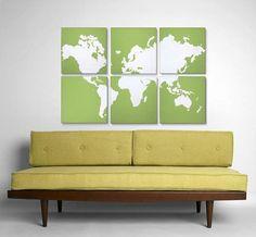 World Map for Kids - Nursery Map - Nursery World Map - Vintage Travel Map - Wall Art World Map - World Map Wall Art - World Map Large World Map Painting, Retro Renovation, My Art Studio, Using Acrylic Paint, Wood Canvas, Silk Screen Printing, World Of Color, Artwork Design, Wall Decor