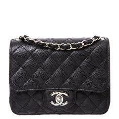CHANEL Black Caviar Leather Mini Flap Bag