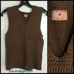 Vintage WW2 American Red Cross sweater vest, looks size XS