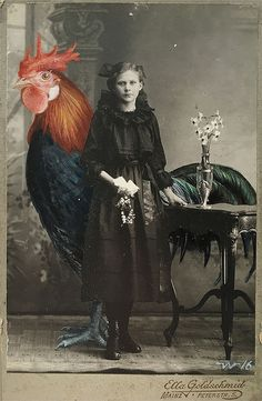 Surreal Oil Paintings That Integrate Oversized Animals Into Found Vintage Photographs By Anja Wülfing, http://webvox.co/oversized-animals-into-found-vintage-photos/ Check more at http://webvox.co/oversized-animals-into-found-vintage-photos/