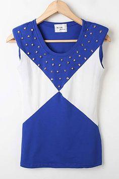 Contrast Colored Stud Embellished Slim T-shirt