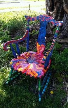 A Symphony of Starlings upcycled vintage rocking chair by TheImpossibleChild by karyn Whimsical Painted Furniture, Hand Painted Furniture, Funky Furniture, Colorful Furniture, Art Furniture, Handmade Furniture, Repurposed Furniture, Furniture Makeover, Painting Furniture