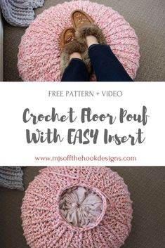 Free crochet floor pouf tutorial with step by step video. Ribbed style floor pouf with easy drawstring insert made from 2 pillow cases. Crochet Pouf Pattern, Crochet Motifs, Crochet Pillow, Diy Crochet Pouf, Crochet Floor Cushion, Knitted Pouf, Crochet Home Decor, Crochet Crafts, Crochet Projects