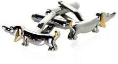 Hotdog Dachshund Dog Silver and Gold Cufflinks with Presentation Box