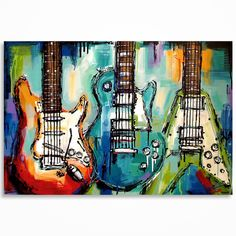 Guitar painting Gift for musician Music Art Les Paul Flying V Strat... ($295) ❤ liked on Polyvore featuring home, home decor, wall art, music wall art, modern home decor, canvas painting, music themed home decor and music home decor