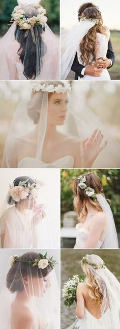 Flower crown Long Wedding Hairstyles with Veil