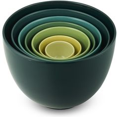 Ceramic Mixing Bowls, Set of 7, Teal to Yellow Tonal found on Polyvore