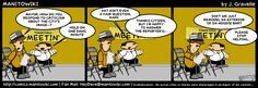 Cartoon / comic strip about a guy from Manitowoc attending a Town Hall meeting Town hall Comic strips Funny cartoons