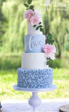 light blue and white wedding cakes with gold ruffle and blush flroal toppers, spring weddings, wedding food, wedding dessert cake decorating recipes kuchen kindergeburtstag cakes ideas Blush Wedding Cakes, Elegant Wedding Cakes, Wedding Cake Designs, Wedding Dress Cake, Elegant Cakes, Wedding Cake With Lace, Spring Wedding Cakes, Blue Wedding Cupcakes, Wedding Gowns