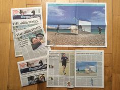 The Mirrored beach hut made the centrespread of The Guardian and The Times.