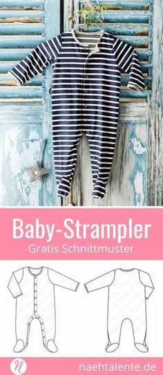 Freebook baby bodysuits made of jersey. Sew a cute striped baby bodysuit with press studs. PDF cut for printing in size 68 - ✂ Nähtalente.de - magazine for free sewing patterns and hobby dressmakers ✂ Free sewing pattern baby onesie in size 86 Sewing Patterns Free Home, Free Sewing, Baby Patterns, Clothing Patterns, Sewing Tips, Sewing Tutorials, Sewing Hacks, Knitting Patterns, Vêtement Harris Tweed