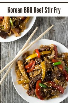Tender rice noodles, seared beef, and vibrant vegetables are bathed in a sticky Korean BBQ sauce you won't be able to get enough of! This Korean BBQ Beef Stir Fry with Noodles is better than takeout! Sausage Recipes, Beef Recipes, Vegetarian Recipes, Chicken Recipes, Rice Recipes, Fancy Dinner Recipes, Delicious Dinner Recipes, Yummy Recipes, Healthy Recipes