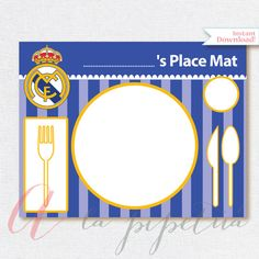 Real Madrid printables. Printable Soccer Place Mat. Real Madrid decoration. Real Madrid place mat. INSTANT DOWNLOAD