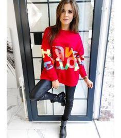 Dámska mikina Diurano červená Red Color, Colour, Looks Great, Trousers, Composition, Sweatshirts, Jeans, Fitness, Cotton