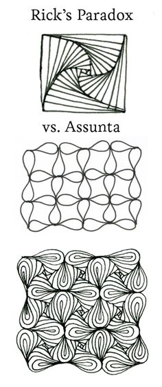 Parasunta - Rick's Paradox and Assunta mixed by CZT Sandy Hunter (this is cool mix because paradox was created by Rick Roberts, co-founder of Zentangle® and Rick created assunta for his wife Maria as a birthday present. she is the second co-founder of Zentangle® • ❃ • ❋ • ❁ • tanglebucket • ✿ • ✽ • ❀ •