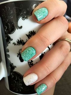 White Romance over Hint of Mint and Frosting Lacquers