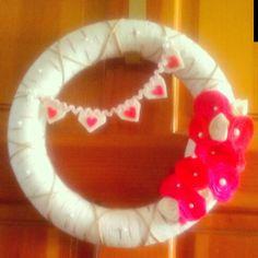 Valentines wreath! Yarn, felt, and twine.