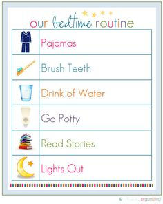 Instead of going through the monotonous task of asking your kids whether or not they've completed all of the steps of their bedtime routines, print and display this cute checklist, and get them into the habit of running through it on their own. Source: