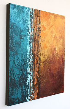 blue orange original abstract painting brown rust by StudioZen