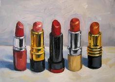 Five Lipsticks - Painting,  7x5 in ©2007 by Kim Kibby -