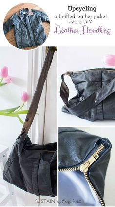 Upcycling A Leather Coat into a DIY Leather Bag: #12MonthsofDIY. Follow the detailed step-by-step instructions to see how an old men's genuine leather jacket with a broken zipper was repurposed into a useful, edgy and stylish lined handbag. An easy weeken