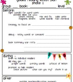 Guided Reading Binder  Guided Reading Lesson Plans Guided