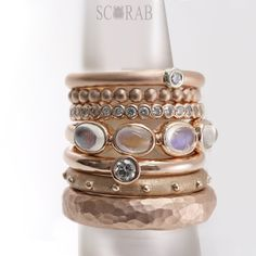 Scarabs addiction to stacking beautiful rings.  #scarabjewellery #gold #rings #gemstones