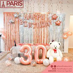 30th Birthday Balloons, 30th Birthday Cake Topper, 50th Birthday Party Decorations, Pink Happy Birthday, Gold Birthday Party, 18th Birthday Party Ideas For Girls, Birthday Background, Photos, Turning 30