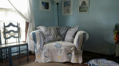 Overstuffed chair diy, painted canvas slipcover