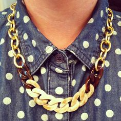 Gold chain necklace, chunky gold chain link necklace, tortoise shell necklace by McIntoshJewelry,
