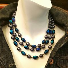 Selling this Black Pearl&Blue Czech Glass Necklace in my Poshmark closet! My username is: pixxiestiixx. #shopmycloset #poshmark #fashion #shopping #style #forsale #Trifari #Jewelry