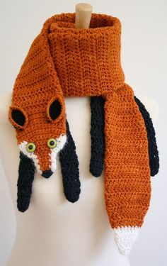 PDF Crochet Pattern for Fox Scarf - Animal Woodland Warm DIY Fashion Tutorial Winter Fall Autumn Accessories Adapt to a knitting pattern. Crochet Fox, Crochet Animals, Crochet Crafts, Yarn Crafts, Easy Crochet, Diy Crafts, Funny Crochet, Crochet Dragon, Knitting Projects