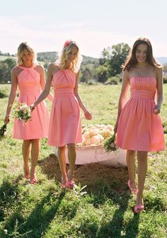 Gorgeous coral bridesmaid dresses!