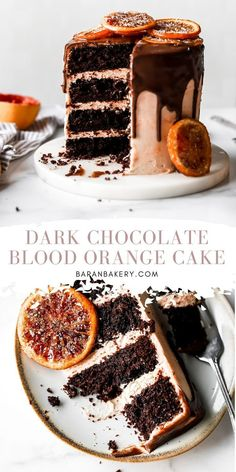 The ultimate dark chocolate blood orange cake entails a super moist and rich chocolate cake infused with blood orange juice and frosted with blood orange buttercream. Top with dark chocolate ganache and candied orange slices. Cupcakes, Cupcake Cakes, Baking Recipes, Cake Recipes, Dessert Recipes, Just Desserts, Delicious Desserts, Dark Chocolate Cakes, Chocolate Ganache Cake