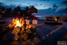 Rehearsal dinner #wedding. Beach bonfire at The Beloved Hotel Playa Mujeres, Mexico.