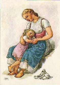 Soloillustratori: Marie Fischerova Kvechova Nursery Illustration, Cool Artwork, Vintage Art, Painting Illustration, Nostalgic Art, Illustration Art, Art, Childrens Art, Mother Art
