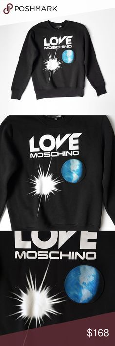 """MOSCHINO LOVE EARTH planet black sweatshirt small LOVE  MOSCHINO  RARE earth print. ultra soft, warm fleece lining. 64 cotton, 38 poly  laid flat, seam - seam: chest: 22"""" shoulder: 18"""" shoulder - hem: 26"""" shoulder -  cuff: 25.5""""  unisex.  fits like men's small, women's oversized s/m.  logo planet moon stars hoody hoodie sweater crewneck pullover athleisure athletic not lululemon like nike casual slouchy oversized workout gym Love Moschino Shirts Sweatshirts & Hoodies"""