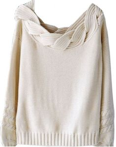 Beige Puff Sleeve Boat Cable Knit Neck Sweater pictures