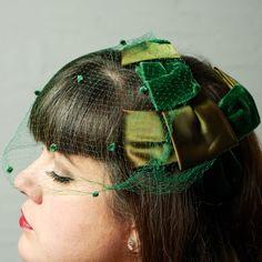 1950's Forest Green Velvet & Satin Headband by LauraDarlingDeluxe, $54.00