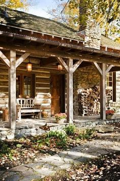 Dreamy log and stone cabin in the woods.