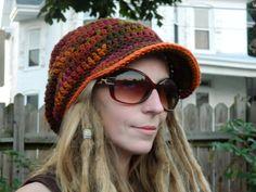 Crochet Dreadlock Tam Harvest with a bill by shopvagabond on Etsy, $26.00